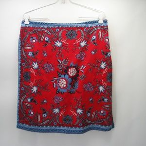 A.M.I. Red Blue Flower Beaded Skirt Sz 10 Side Zip